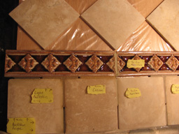 A number of grout samples are installed in tile to allow for better client choice