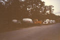 1992 Houston Memorial custom home trucks gathering for an early pour