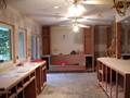 Memorial kitchen with cabinets under construction