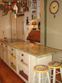 Houston kitchen with island grain bins
