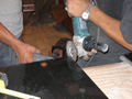 Houston kitchen grinding granite to fit